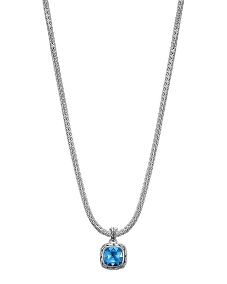 "Batu Classic Chain London Blue Topaz Pendant Necklace, 16""L"