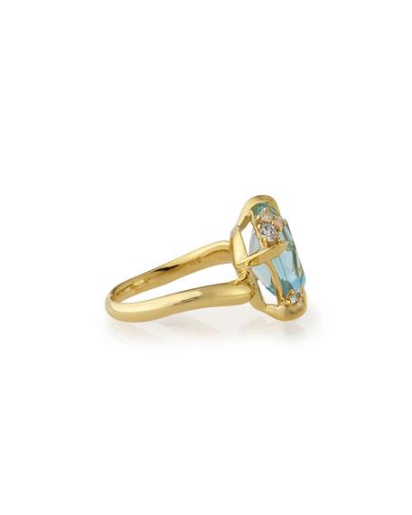 Sandy Beach 18k Gold Blue Topaz Ring with Diamonds