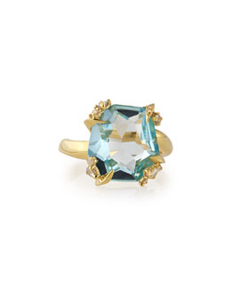 Alexis Bittar Fine Sandy Beach 18k Gold Blue Topaz Ring with Diamonds