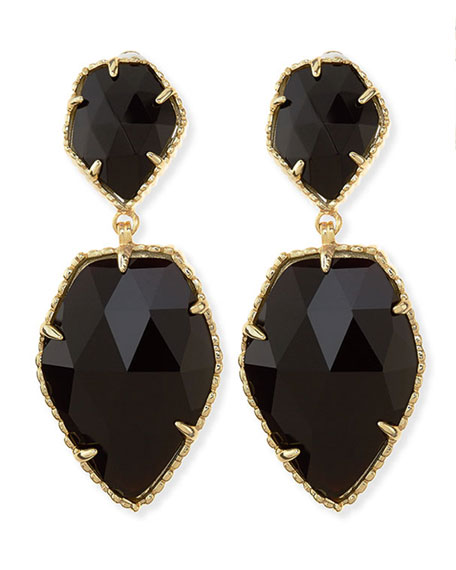 Selma Faceted Clip-On Earrings, Black