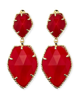 Kendra Scott Selma Faceted Clip-On Earrings, Red