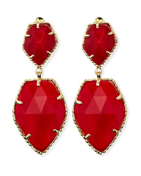 Selma Faceted Clip-On Earrings, Red