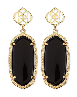 Kendra Scott Debbie Glass Drop Earrings, Black