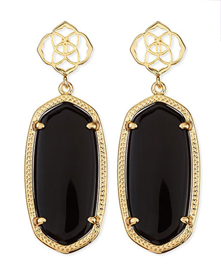 Debbie Glass Drop Earrings, Black
