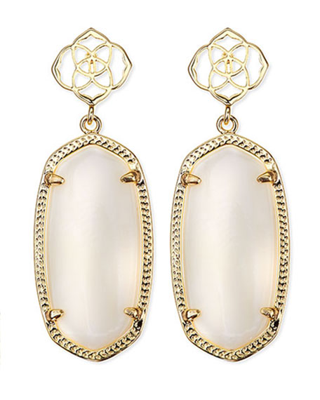 Debbie Glass Drop Earrings, White