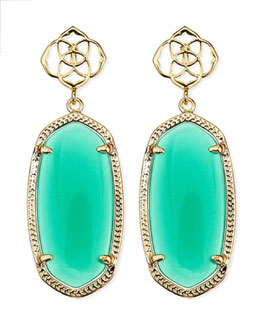 Kendra Scott Debbie Glass Drop Earrings, Green