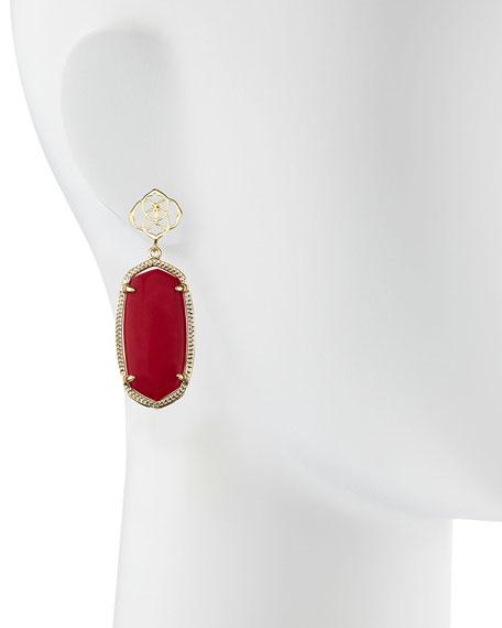 Debbie Glass Drop Earrings, Red