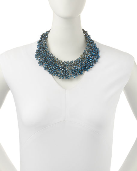 Flower Beaded Statement Necklace, Blue