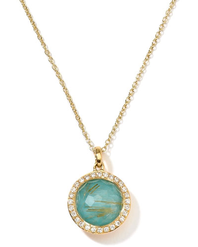 Ippolita 18k Gold Rock Candy Mini Lollipop Pendant Necklace, Quartz/Turquoise/Diamonds