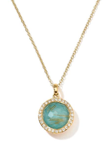 18k Gold Rock Candy Mini Lollipop Pendant Necklace, Quartz/Turquoise/Diamonds