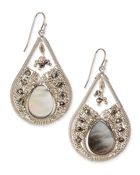 Mother of Pearl Beaded Teardrop Earrings
