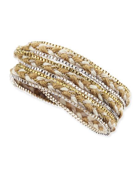 Braided Rope & Box Chain Wrap Bracelet