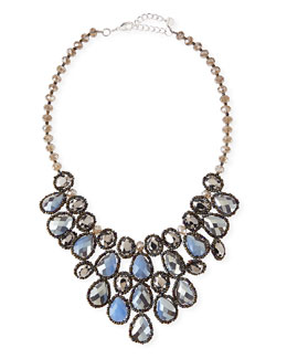 Nakamol Crystal Beaded Teardrop Statement Necklace, Blue/Gunmetal