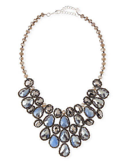 Crystal Beaded Teardrop Statement Necklace, Blue/Gunmetal