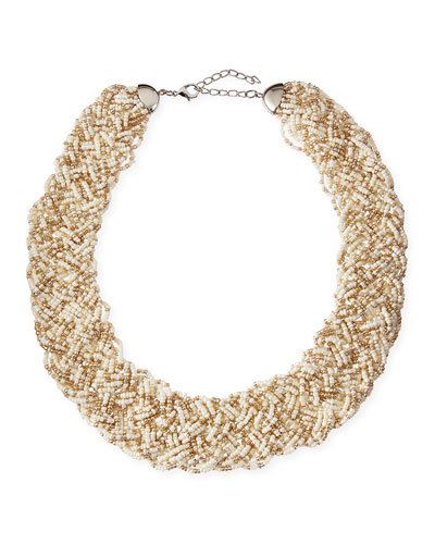 Nakamol Woven Beaded Statement Necklace