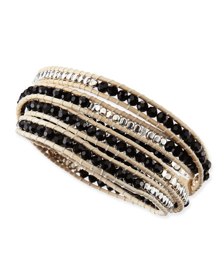 Tricolor Beaded Leather Wrap Bracelet, Black/Silver/Cream