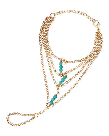 Beaded Golden Chain Ring Bracelet, Turquoise