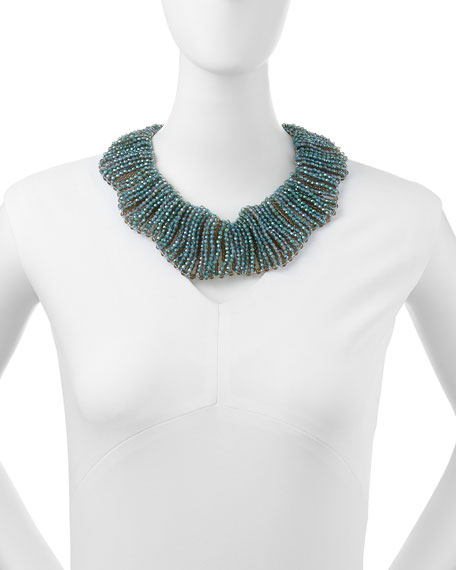 Crystal Beaded Scallop Collar Necklace