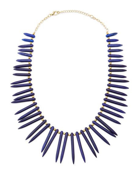 Graduated Spike Beaded Statement Necklace, Cobalt