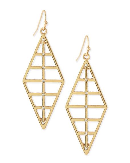 Ribbed Diamond Shape Dangle Earring