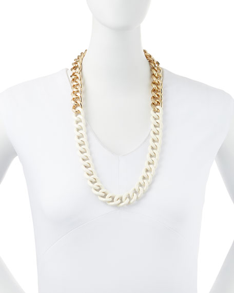 Two-Tone Oversized Link Necklace, Golden/Ivory