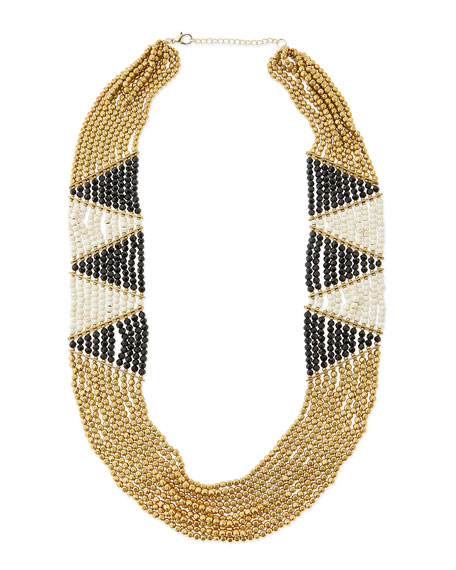 Geometric Beaded Statement Necklace