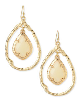 Panacea Hammered Teardrop Earrings with Facet