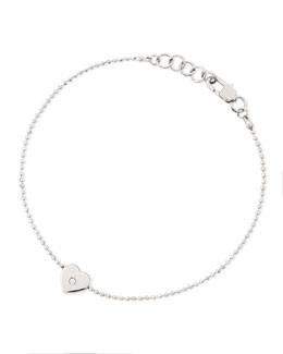 Michael Kors  Heart-Charm Bead Bracelet, Silver Color