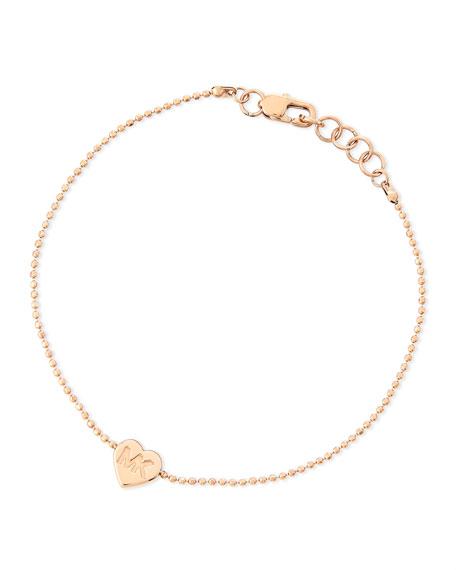 Heart-Charm Bead Bracelet, Rose Golden