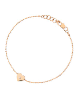 Michael Kors  Heart-Charm Bead Bracelet, Rose Golden