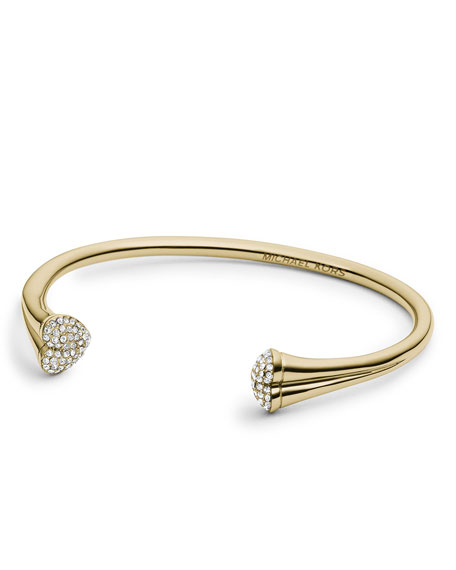 Open Pave-Heart Cuff, Golden