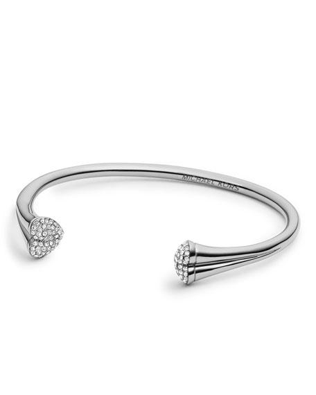 Open Pave-Heart Cuff, Silver Color