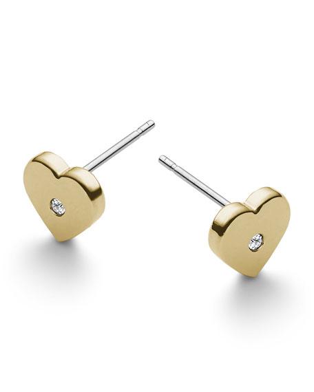 Heart Stud Earrings, Golden