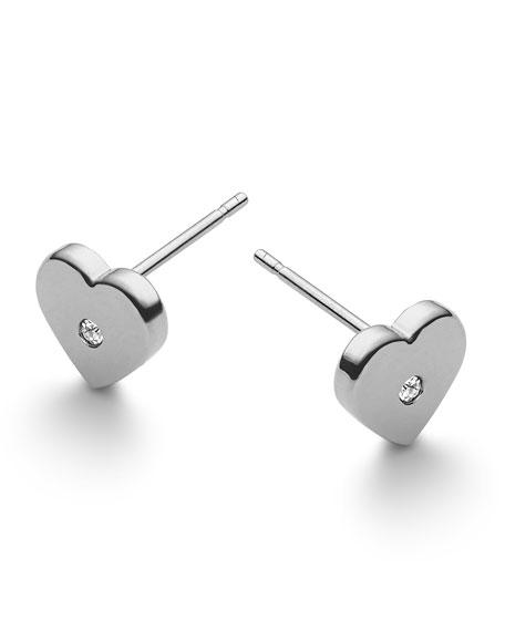 Heart Stud Earrings, Silver Color
