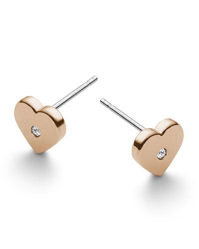 Michael Kors  Heart Stud Earrings, Rose Golden