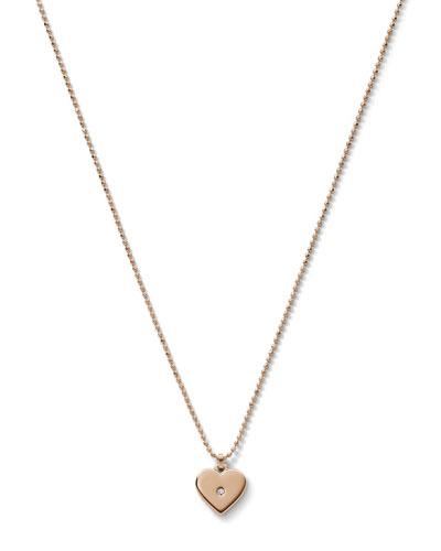 Michael Kors  Heart Charm Necklace, Rose Golden