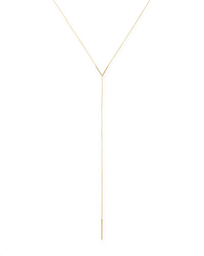 14k Yellow Gold Diamond-Chevron Lariat Necklace