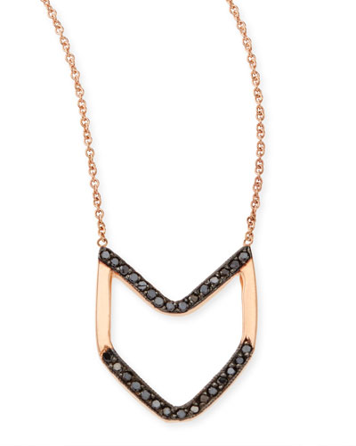 Zoe Chicco 14k Rose Gold Black Diamond Chevron Necklace