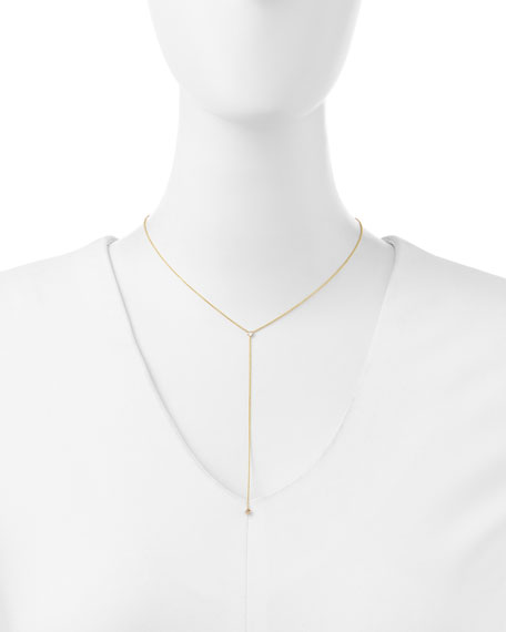 14k Yellow Gold Princess Diamond Lariat Necklace