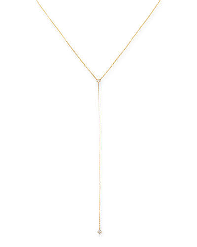14k Yellow Gold Round-Diamond Lariat Necklace