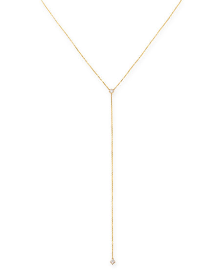 Zoe Chicco 14k Yellow Gold Princess Diamond Lariat