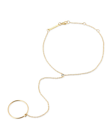 14k Yellow Gold & Round Diamond Hand Chain