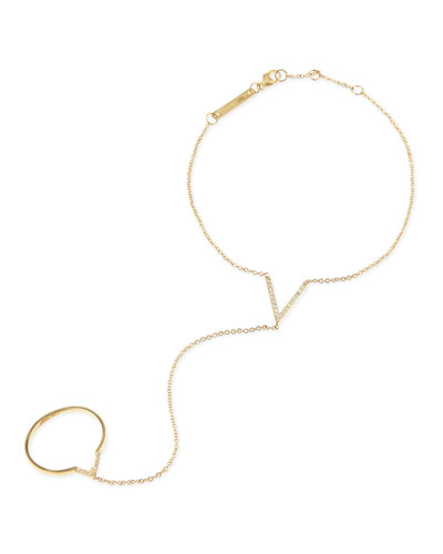 Zoe Chicco 14k Yellow Gold & Diamond-V Hand Chain