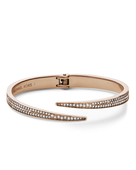 Pave Hinge Open Cuff, Rose Golden