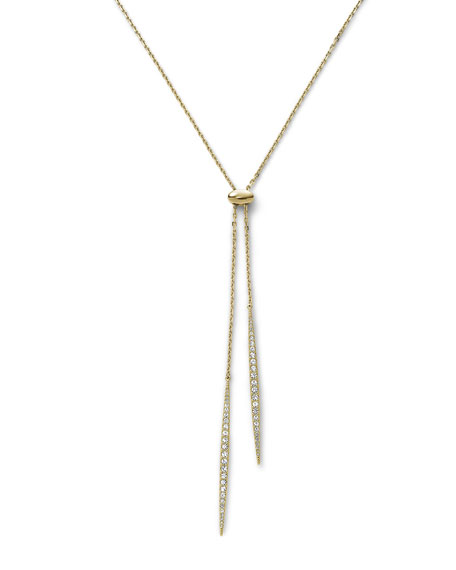 Matchstick Lariat Necklace, Golden