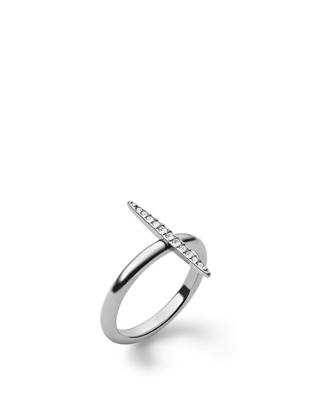 Pave Matchstick Ring, Silver Color