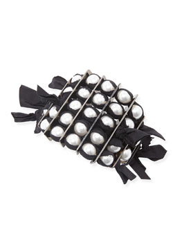 Lanvin Black Grosgrain Pearly Bracelet