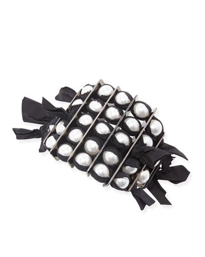 Lanvin Black Grosgrain Pearly Bracelet