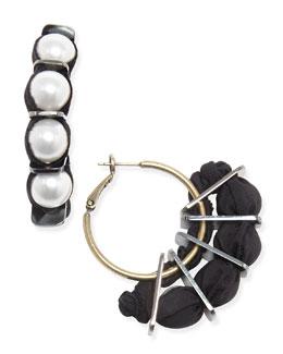 Lanvin Grosgrain & Pearly Hoop Earrings