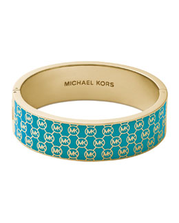Michael Kors  Monogram Hinge Bangle, Turquoise/Golden